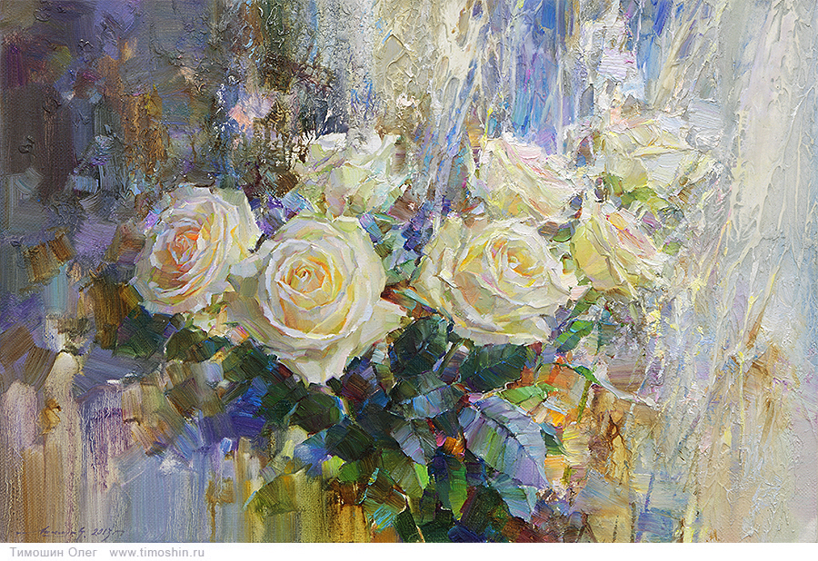 картины маслом розы: